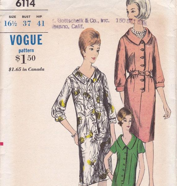 Slim dress pattern 1960 Vogue 6114 Size 16 1/2 Bust 37 Hip 41