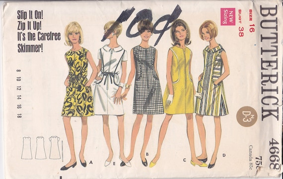 Slip on Zip up Skimmer dress pattern Butterick 4668 Size 16 Bust 38