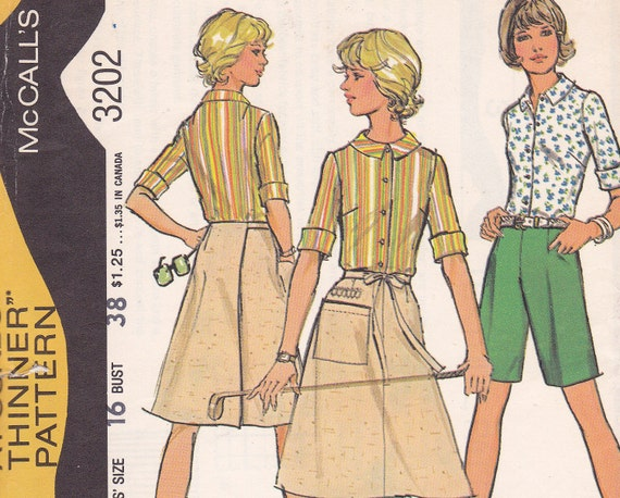 Size 16 Bust 38 Pounds thinner sewing pattern McCalls 3202 skirt shirt shorts blouse top from 1972