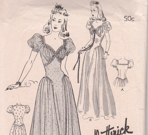 Adorable 1941 Evening Gown sewing pattern Size 14 Butterick 1413 long dress