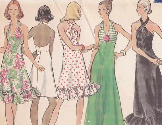 Sun dress Size 14 bust 36 Vogue pattern 8323 from 1972 uncut halter long short