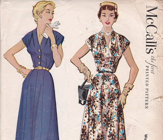 1953 McCalls pattern 9640 Size 20 Bust 38 Dress sewing pattern without shoulder pads