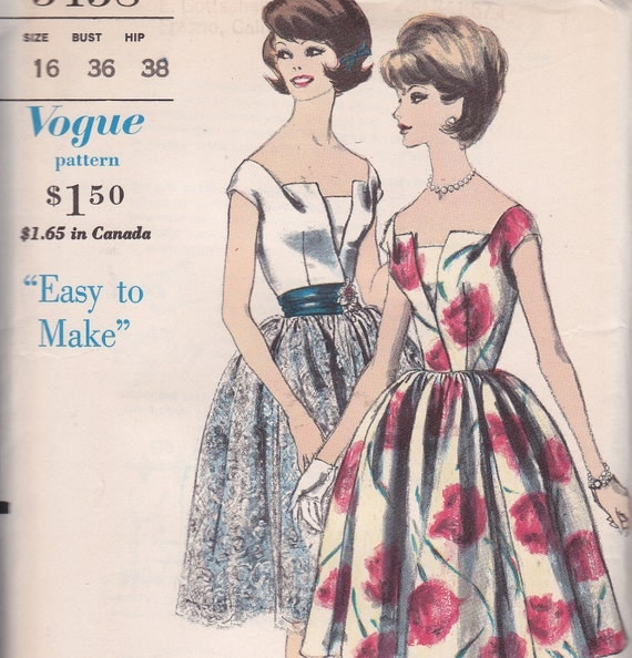 Vogue Special Design 5458 uncut Easy to Make Dress and petticoat with original sew in label Size 16 Bust 36 young Fashionables