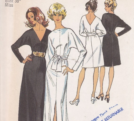Simplicity 5363 SIze 16 Bust 38 Jiffy Dress and sash in 2 lengths pattern for stretch knits only from 1972 uncut