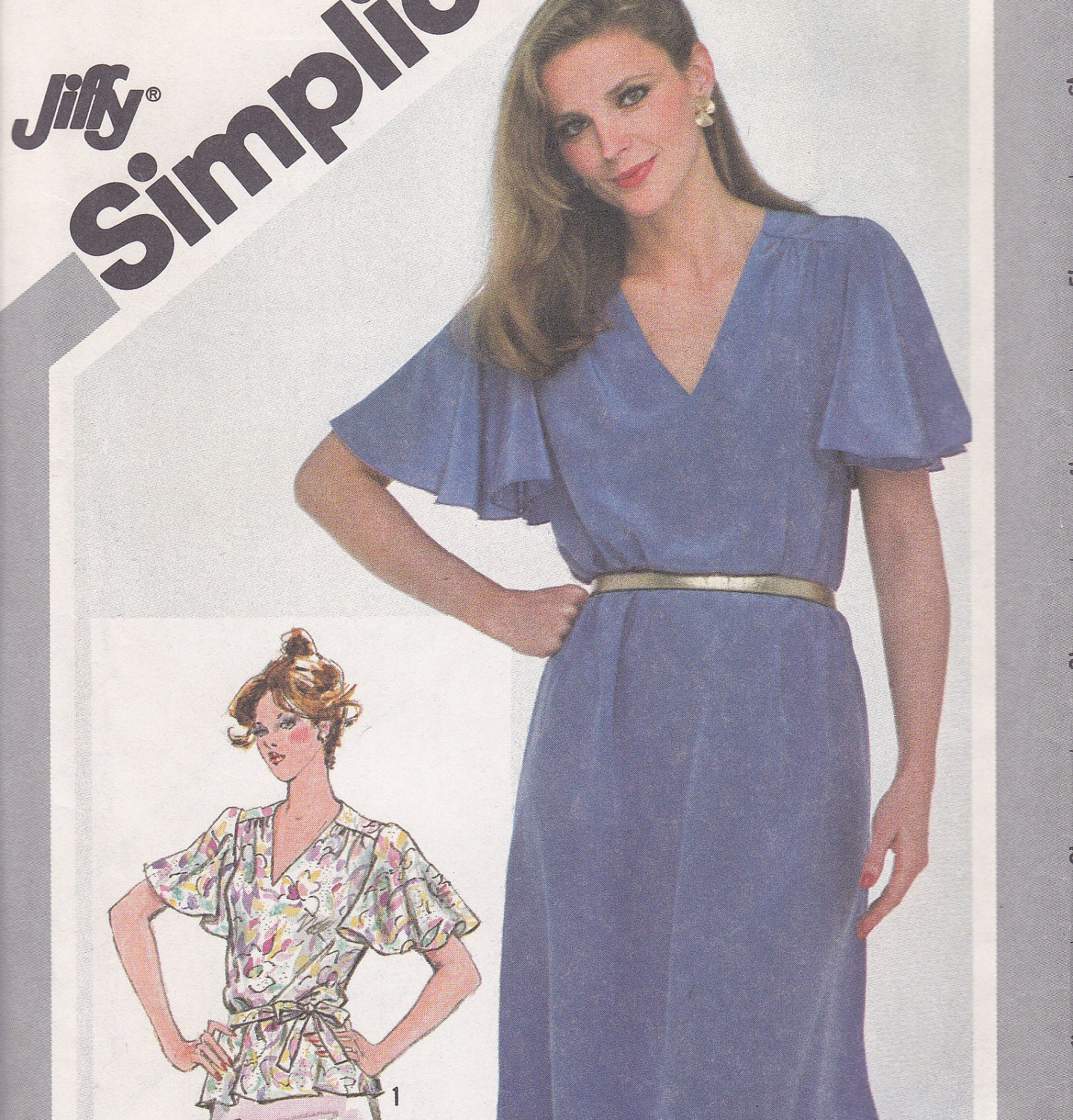 1981 Jiffy Sewing Pattern Butterfly Sleeve Dress Or Blouse