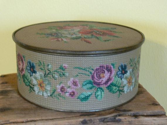 Vintage Tin Needlepoint Floral Round Beautiful Storage