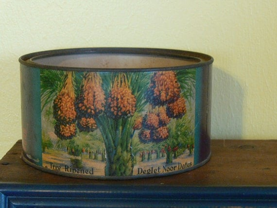 Vintage California Date Tin Desert Dainties Brand Indio Ca 3 Pound Great Advertising Tin