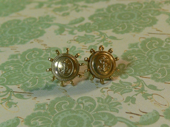 Earrings Anchors Away Vintage Brass Navy Button Stud Post Claw Brass Settings
