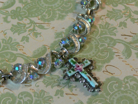 RESERVED -Vintage Necklace Blue AB Rhinestone Silver Hand Painted Guilloche Cross