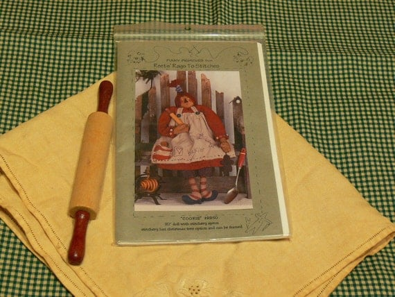 """Primitive Doll Pattern Unused 30"""" Doll Plus Fabric and More"""