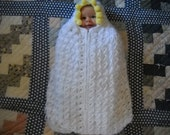 Vintage Baby Blanket Crocheted and Lined Hooded White and Yellow Zipper Sleeping Bag
