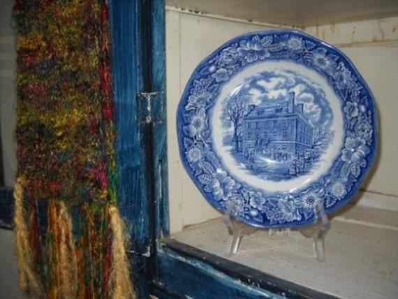 Staffordshire Liberty Blue Round Vegetable Bowl Fraunces Tavern With Flower Rim