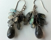 Labradorite cluster drop earrings with silver