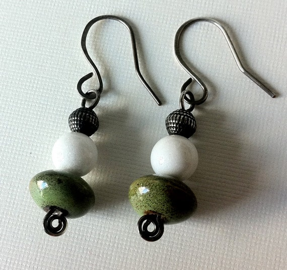 Ceramic, white agate and silver bead earrings