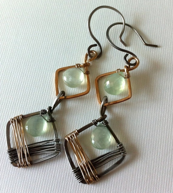 Twins - Two-tone gold-filled and silver wirewrapped earrings with soft green prehnite beads