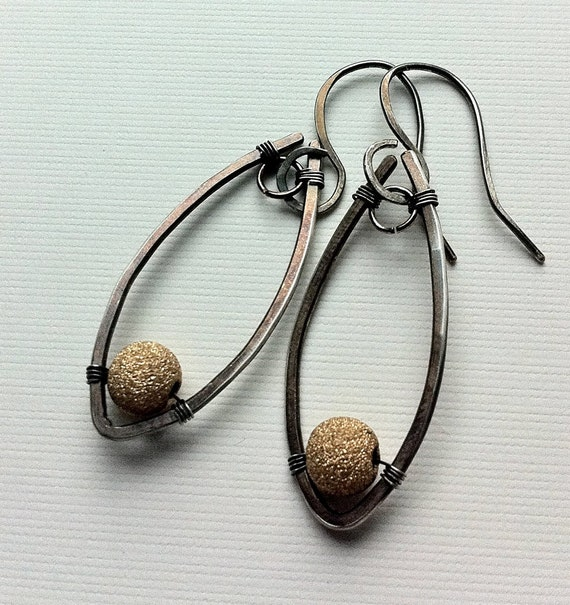 Two-tone earings with gold-filled stardust beads on silver-filled frame