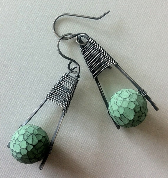 Silver woven earrings with modern polymer clay beads