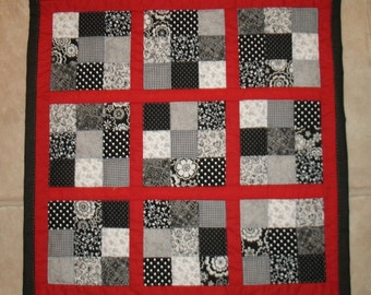 Sudoku in Black and White - 23 X 23 inch hand quilted wall hanging