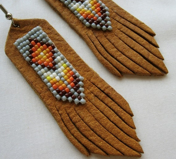Beaded Leather Earrings-Silver Sage-Bohemian/Southwestern/Tribal Style/ Seed Bead Earrings/Leather Fringe/Boho