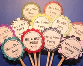 MR. and MRS. - Monogram Custom Wedding or Anniversary Cupcake Toppers - or Favor Tags - set of 12