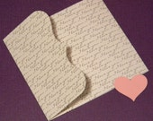 LOVE NOTES - Valentine's Day Pocketfold Envelope Cards - set of 3 w/ Hearts - I Love You