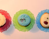 Paper Lace Doilies - Colorful Dessert Party Supplies - Cupcake and Treat Decorations for Weddings, Birthdays, and Showers - set of 5