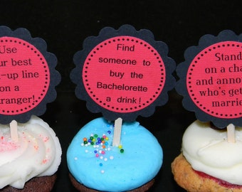 BLACK and RED Bachelorette Party Game Cakes - Couture Cupcake Toppers - set of 12 - customizable for Birthdays