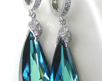 Bridal Earrings, CZ Bermuda Blue, Bridal Jewelry, Bridesmaids Gifts, Wedding Jewelry, Bridesmaids Jewelry