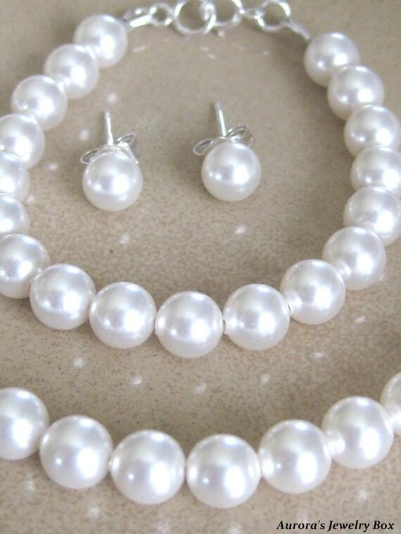 Flower Girl Set - Bridal Jewelry Wedding Jewelry Bridal Party Gift Pearls Flower Girl Jewelry Wedding Gift