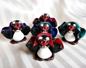 Pengula - Red Cape - Polymer Clay - PenGuin Kisses