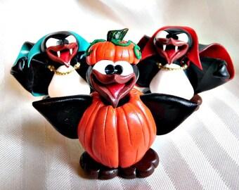 PumpGuin - Pumpkin Suit Halloween Penguin - Polymer Clay - PenGuin Kisses