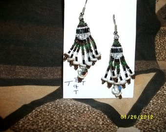 Green brown black silver Earrings