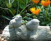 Solid Stone BIRDS ON A BRANCH Original Garden Sculpture (c)