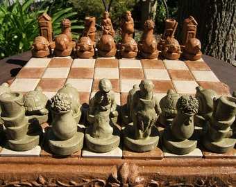 Original GARDENERS CHESS SET Solid Stone w/ inlaid tiles - Outdoor Safe