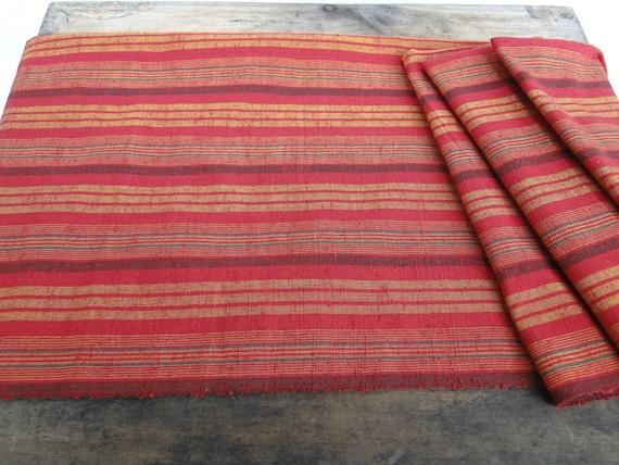 Japanese Silk, kusaki zome. Naturally dyed, red, mustard and green striped silk