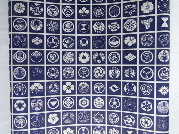 Wrapping Service Available - Kamon Wrapping Paper - Blue and White. (Ref: CF047)