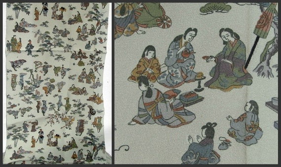 RESERVED SALE Fabric Depicting Edo Era Samurai, Nobel Men and Women - Vintage / Antique