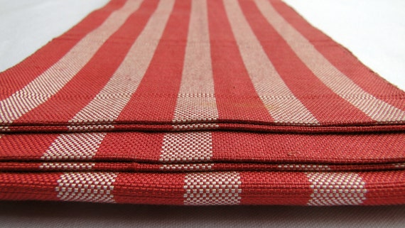 Silk Obi, Red / Pink Striped Vintage Japanese