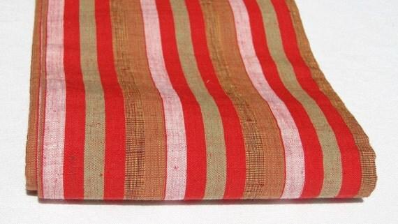Silk Obi, Red Multi Striped Vintage Japanese Tsumugi / Pongee