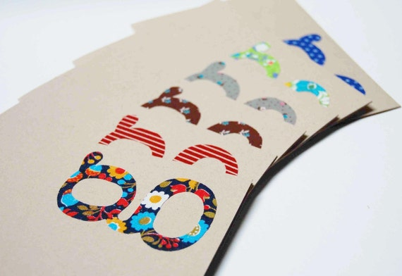 Vintage Fabric Monogram Eco Notecard Set, letter of your choice
