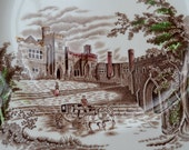1920s Johnson Bros Hand Coloured Plate - Haddon Hall