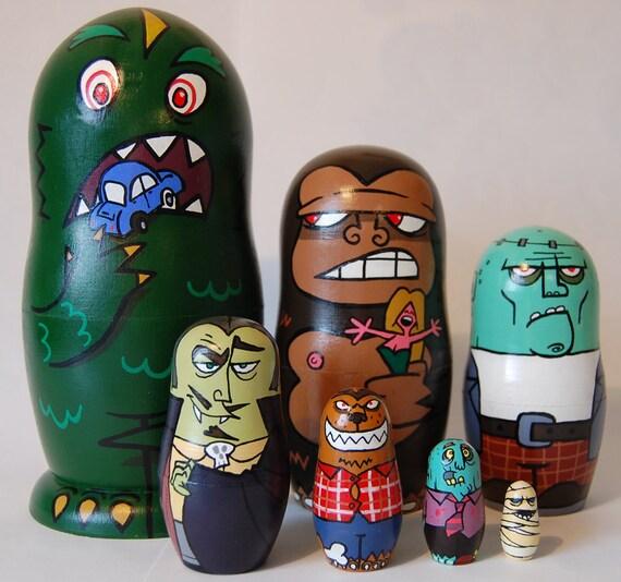 Movie Monsters Matrioshka (7 Russian Doll set) - Godzilla, King Kong, Frankenstein's Monster, Dracula, Wolfman, Zombie and Mummy