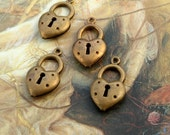 20 Vintage Heart Lock Keyhole Old Brass Puffed Charms