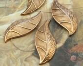 4 Vintage Old Brass Unique Leaf Very Heavy Brass Pieces