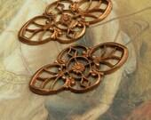 2 Vintage SUPERBLY Detailed DECO Old Brass Openwork Pendants