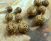2 Pairs GORGEOUS Rare Vintage Brass Filigree Drop Dangle Earrings!