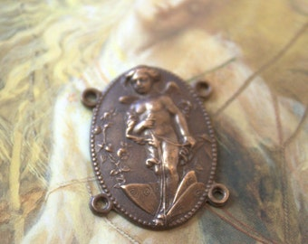 Vintage Cupid Riding Dragonfly Art Nouveau Pendant