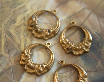 4 Vintage Victorian Old Brass Pendants