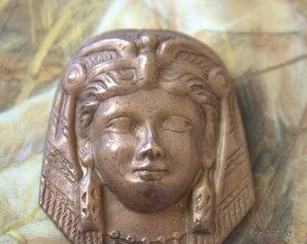 Vintage Old Brass Egyptian Revival Deco Woman Pendant