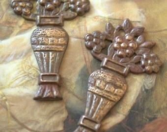2 Vintage Old Brass AWESOME Floral Vase Pieces
